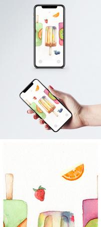 手绘冰棒手机壁纸图片