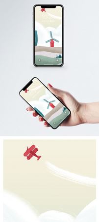 手绘风景插画手机壁纸图片