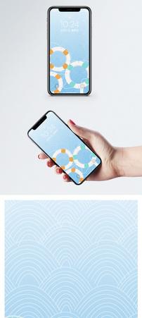 水彩救生圈手机壁纸图片