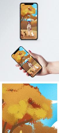 秋天漫步手机壁纸图片