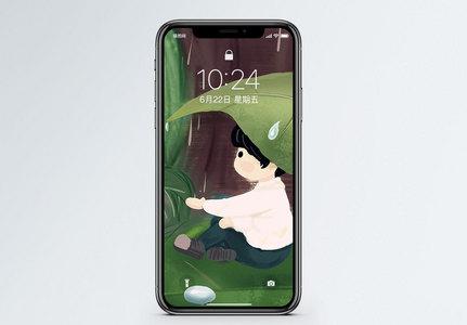 雨天女孩手机壁纸图片