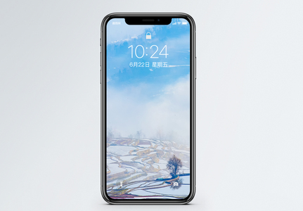 梯田晨雾手机壁纸图片