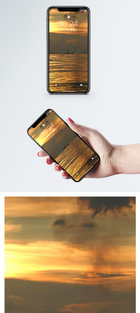 夕阳下的水面手机壁纸图片