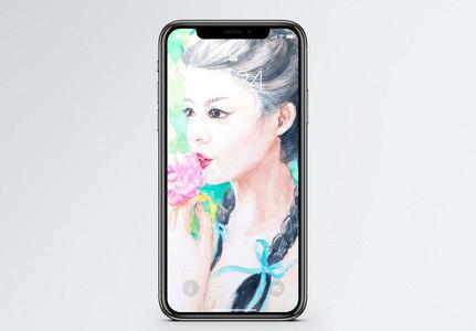 油画女孩手机壁纸图片