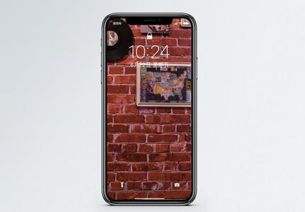 复古红墙装饰手机壁纸图片