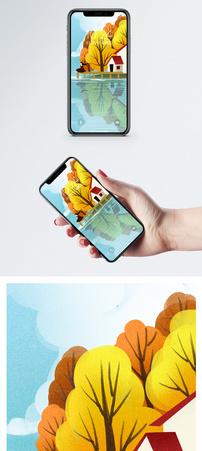 唯美秋天插画手机壁纸图片