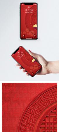 红色喜庆背景手机壁纸图片