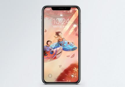 飞翔的锦鲤手机壁纸图片