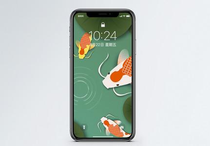 剪纸风锦鲤手机壁纸图片