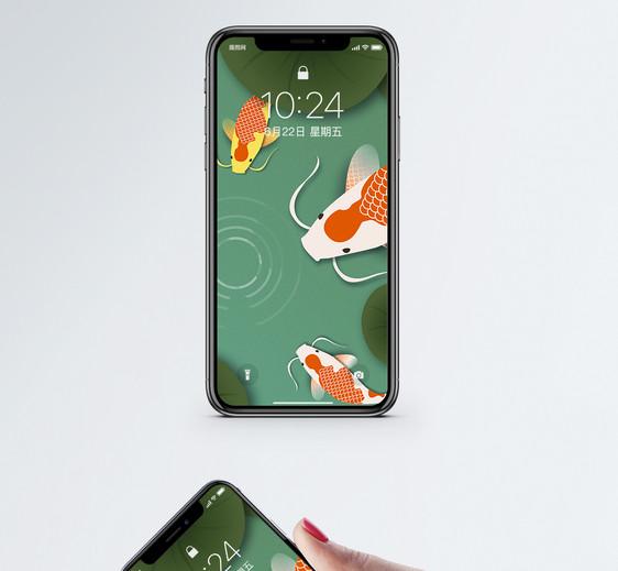 剪纸风锦鲤手机壁纸