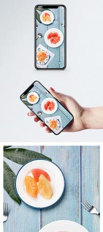 新鲜红柚果肉手机壁纸图片