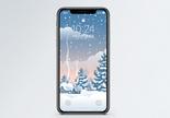 下雪圣诞树手机壁纸图片