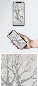雪地里的鹿和女孩手机壁纸图片