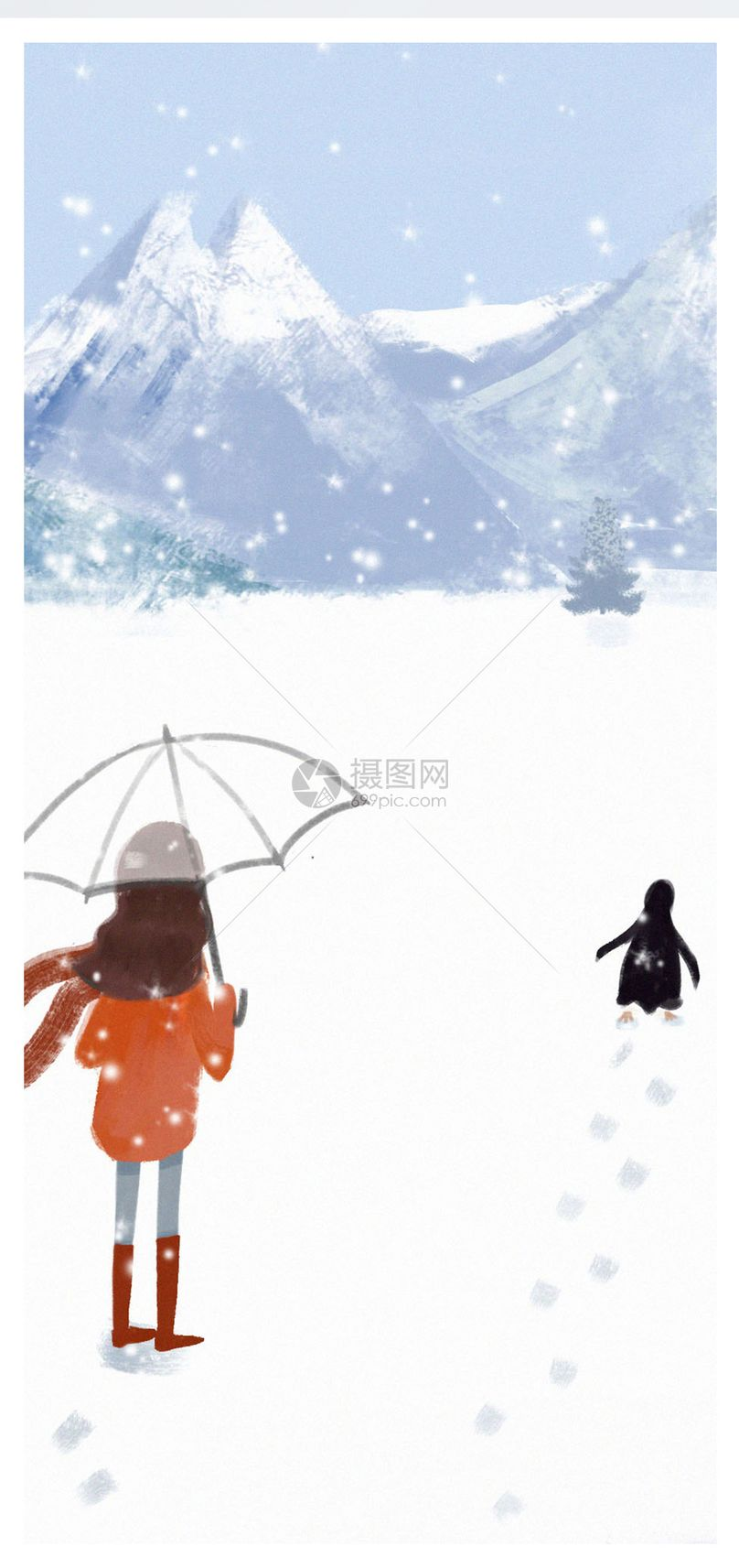 冬季插画手机壁纸图片