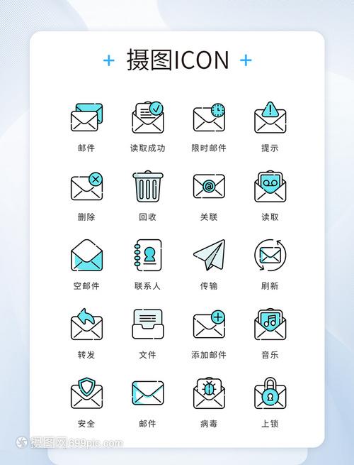 UIv邮件邮件蓝色精致线条图标商务德芙系列化包装设计图片