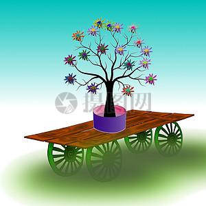 木车上的花朵图片