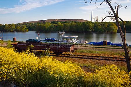 碧绿的河水和黄澄澄的油菜花形成一道靓丽的景色图片