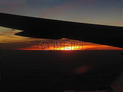 天空中飞机的机翼图片