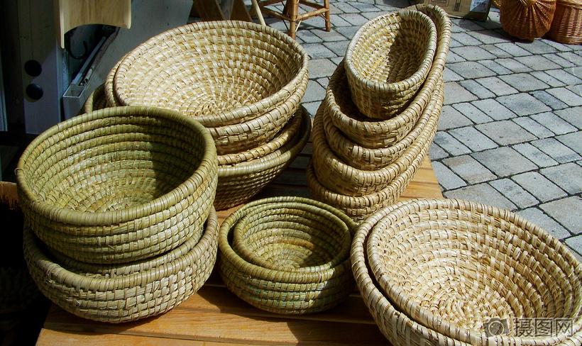 手工编织竹篮图片