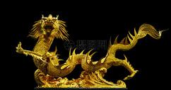 金色中国龙特写图片