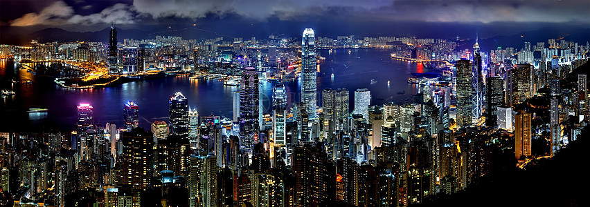 香港维多利亚港城市夜景图片