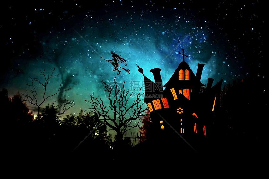万圣节之夜女巫背景图片