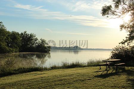 郊外美丽的湖边特写图片