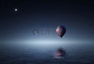天空中飘着的热气球图片