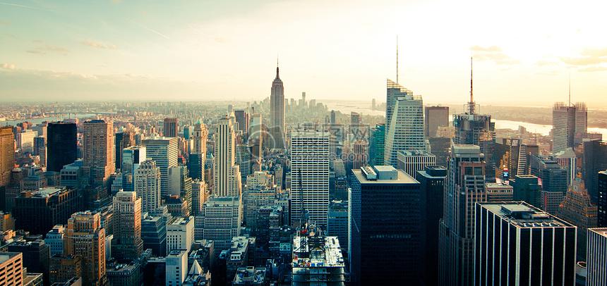 城市摄影曼哈顿市中心的天际线图片