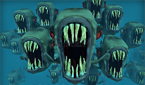 恐怖的食人鱼背景图片