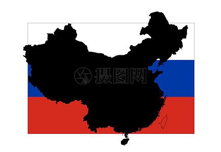 俄罗斯国旗与中国地图图片