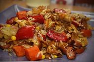 美味的香肠炒饭图片