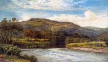 高山流水风景宜人的油画图片