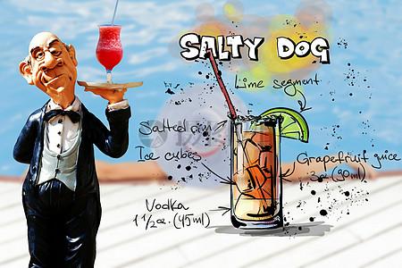 端着饮料的卡通男人图片