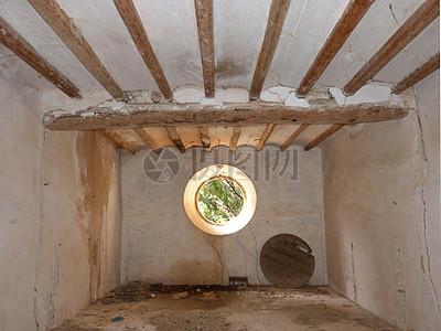 室内墙壁上的圆洞图片