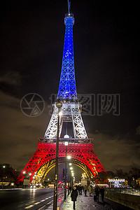 夜晚下的菲尔铁塔高清图片