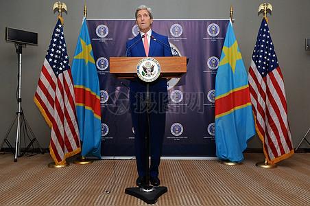 秘书克里举行新闻发布会会见刚果民主共和国总统卡比拉后图片