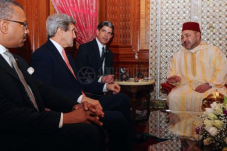 秘书克里会见卡萨布兰卡摩洛哥国王穆罕默德六世图片