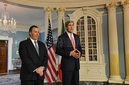 秘书克里和墨西哥外长梅亚德地址记者图片