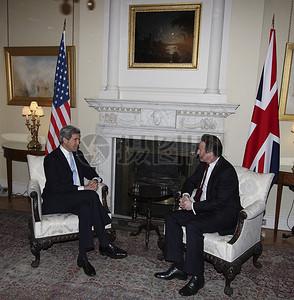 秘书克里会见英国首相卡梅伦图片