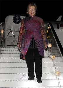 克林顿国务卿抵达埃及图片