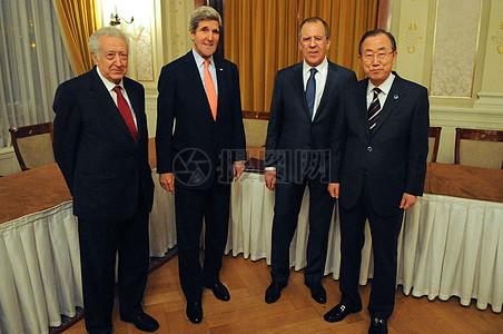 秘书克里,俄罗斯外长拉夫罗夫会见联合国秘书长潘基联合国特别代表卜拉希米图片