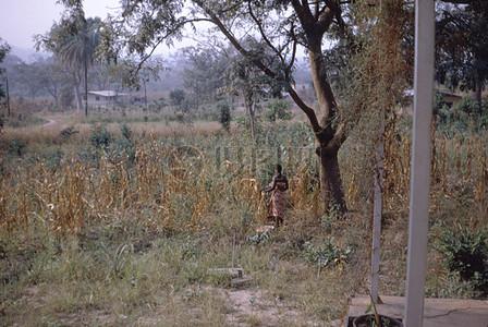 站在枯草地里的人图片