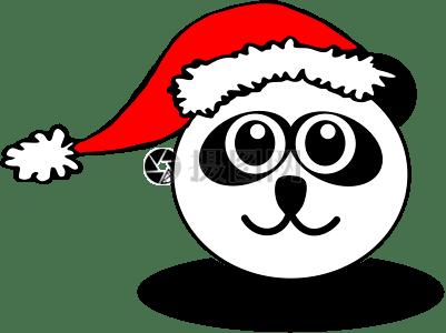滑稽的熊猫脸黑色和白色与圣诞老人的帽子图片
