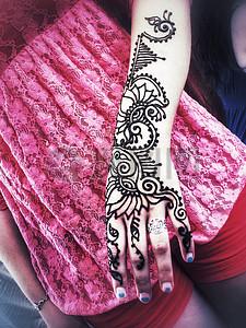 手头指甲花纹身图片