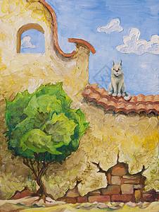 猫树猫坐老黄墙上,看着那棵绿色的小树的油画,30x40厘米图片