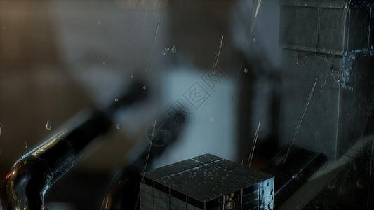 雨夜老城的街道上图片