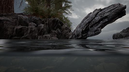 半北海里有岩石图片