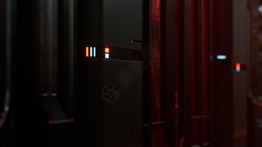 未来主义的黑暗数据中心与金属灯光图片