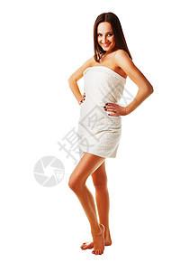 有吸引力的新鲜模型毛巾白色背景图片